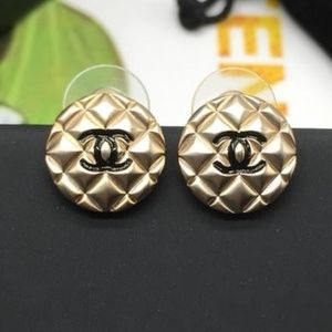 Chanel Round Earrings With CC Logo